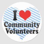 Amo a voluntarios de la comunidad etiquetas redondas