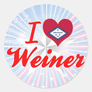 Amo a Weiner Arkansas Etiquetas Redondas
