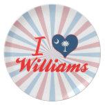 Amo a Williams, Carolina del Sur Plato Para Fiesta
