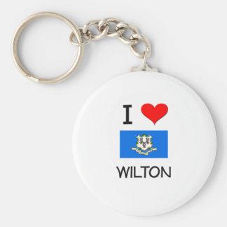 Amo a Wilton Connecticut Llavero Redondo Tipo Pin