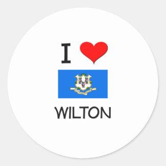 Amo a Wilton Connecticut Pegatina Redonda