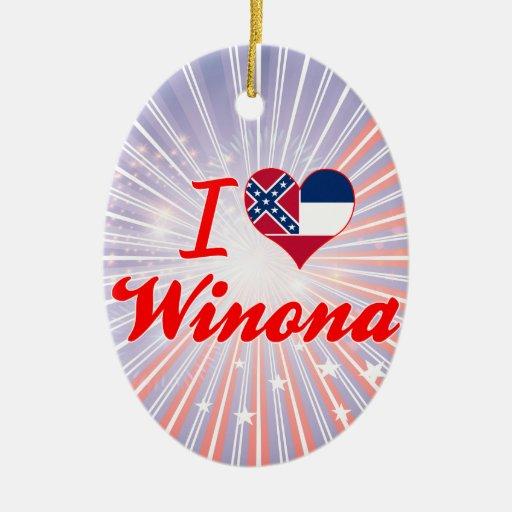 Amo a Winona, Mississippi Adorno Ovalado De Cerámica
