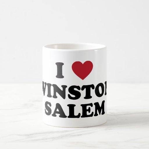 Amo a Winston Salem Carolina del Norte Taza Básica Blanca