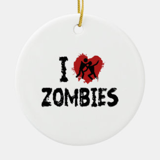 Amo a zombis adorno redondo de cerámica