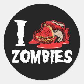 Amo a zombis del corazón pegatina redonda