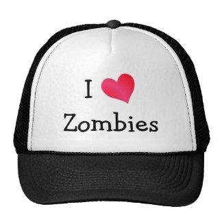 Amo a zombis gorros bordados