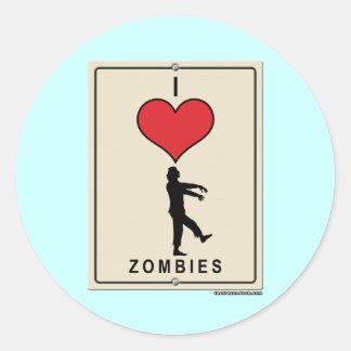 Amo a zombis etiquetas redondas