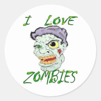 Amo a zombis pegatinas redondas