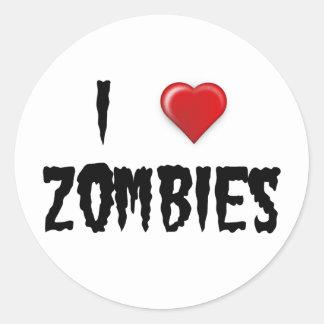 Amo a zombis etiqueta redonda