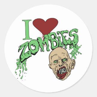 Amo a zombis pegatina redonda