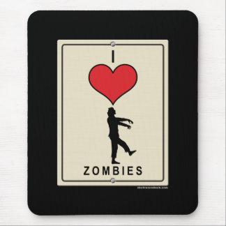 Amo a zombis alfombrilla de ratón