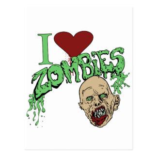 Amo a zombis tarjeta postal