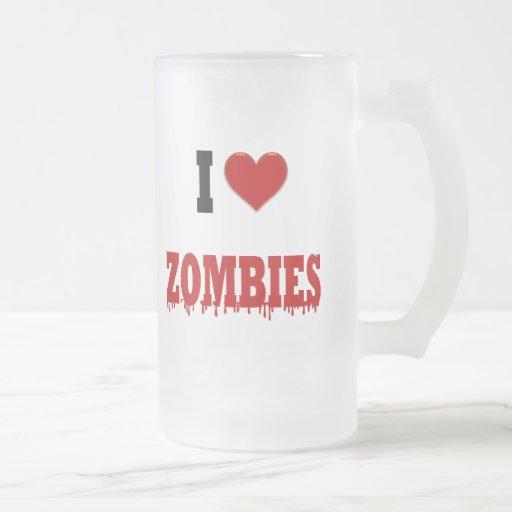 Amo a zombis taza de cristal