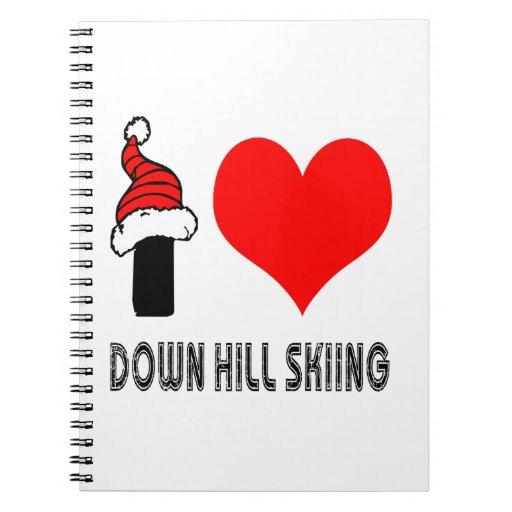 Amo abajo de diseño del esquí de la colina libros de apuntes