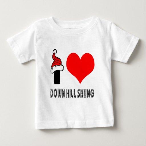 Amo abajo de diseño del esquí de la colina t shirt
