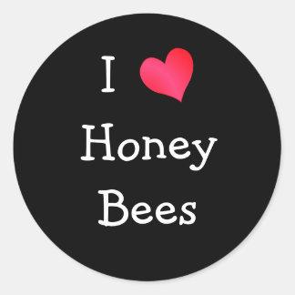 Amo abejas de la miel pegatina redonda