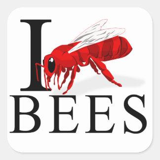 Amo abejas pegatina cuadrada