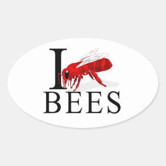 Amo abejas pegatina ovalada