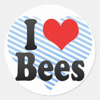 Amo abejas pegatina redonda