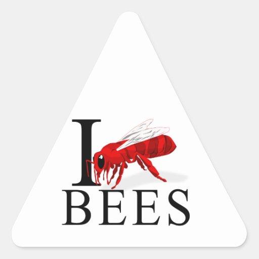 Amo abejas pegatina triangular