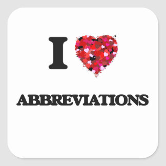 Amo abreviaturas pegatina cuadrada