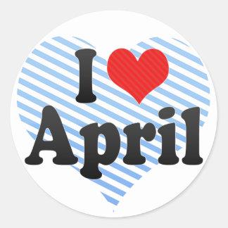 Amo abril etiqueta redonda