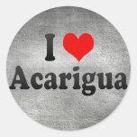 Amo Acarigua, Venezuela Pegatina Redonda