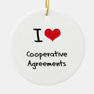 Amo acuerdos cooperativos adorno redondo de cerámica