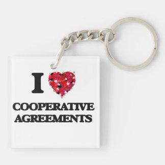 Amo acuerdos cooperativos llavero cuadrado acrílico a doble cara