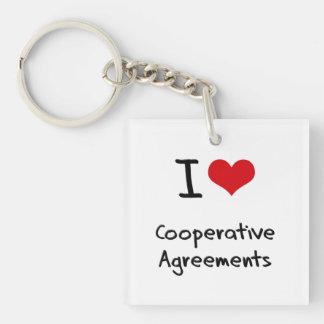 Amo acuerdos cooperativos llavero cuadrado acrílico a una cara