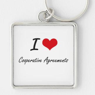 Amo acuerdos cooperativos llavero cuadrado plateado