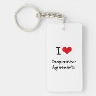 Amo acuerdos cooperativos llavero rectangular acrílico a doble cara