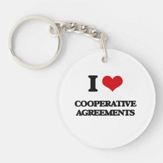 Amo acuerdos cooperativos llavero redondo acrílico a una cara
