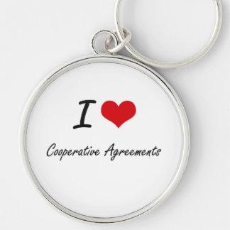 Amo acuerdos cooperativos llavero redondo plateado