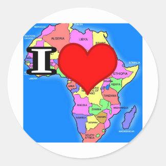 Amo África Pegatina Redonda