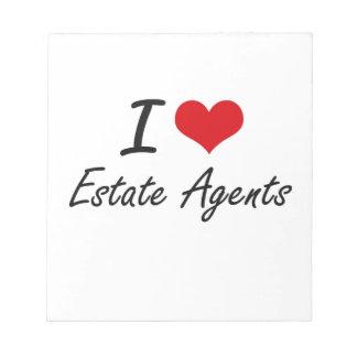 Amo agentes de la propiedad inmobiliaria blocs de papel