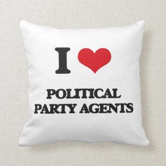 Amo agentes del fiesta político cojin