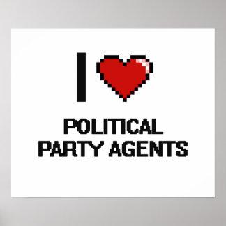 Amo agentes del fiesta político póster