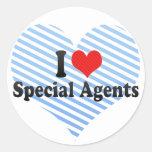 Amo agentes especiales pegatinas redondas