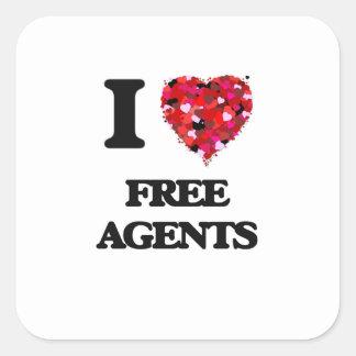 Amo agentes libres pegatina cuadrada