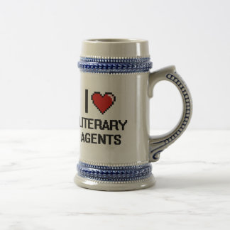 Amo agentes literarios jarra de cerveza
