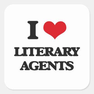 Amo agentes literarios calcomania cuadradas personalizadas