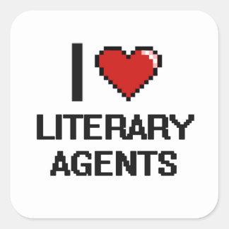 Amo agentes literarios pegatina cuadrada