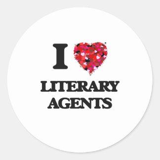 Amo agentes literarios pegatina redonda