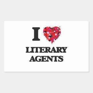 Amo agentes literarios pegatina rectangular