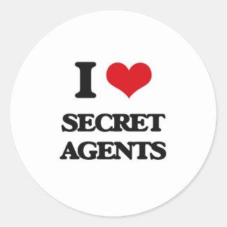 Amo agentes secretos pegatina redonda