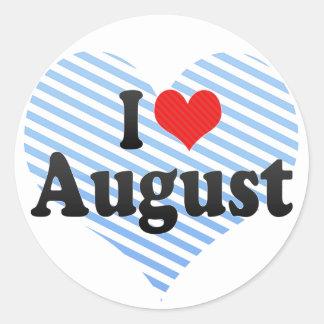 Amo agosto pegatina redonda