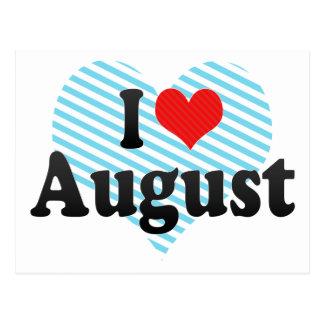 Amo agosto tarjeta postal