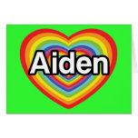 Amo Aiden, corazón del arco iris Felicitacion