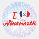 Amo Ainsworth, Iowa Pegatinas Redondas